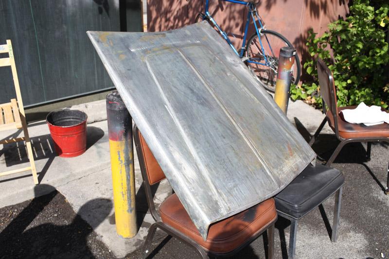 22/09 - Hand formed lightweight steel race hemi hood scoop