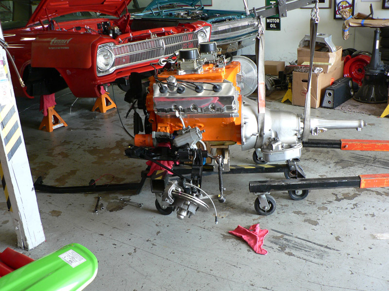 7/01/05 - Mounted the block onto the the k-member installed torque converter and tacked on the trans. Drive-line is ready
